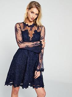u-collection-forever-unique-mesh-sleeve-skater-dress-navy