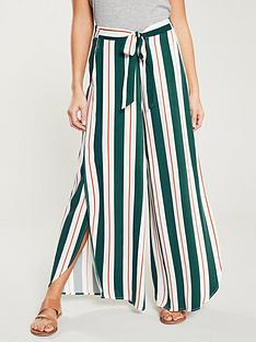 bbd3ca62a8b67d NATIVE YOUTH Erykah Tie Waist Curve Hem Stripe Wide Pants - Multi