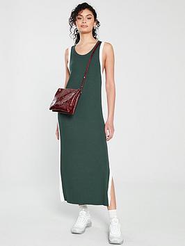 native-youth-ray-side-stripe-midi-dress-greenwhite