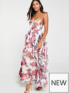 u-collection-forever-unique-floral-crossover-strap-maxi-dress-nude