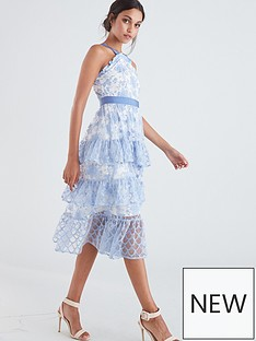 f613d4b9e52 U Collection Forever Unique Lace Tiered Midi Dress - Pale Blue