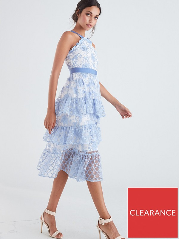 Lace Tiered Midi Dress Pale Blue