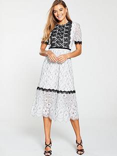 u-collection-forever-unique-short-sleeve-lace-panel-midi-dress-ivoryblack