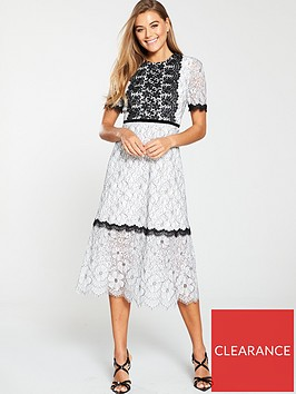 u-collection-forever-unique-short-sleeve-lace-panel-midi-dress-ivoryblack