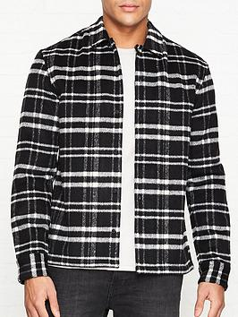 allsaints-racine-check-overshirt-black