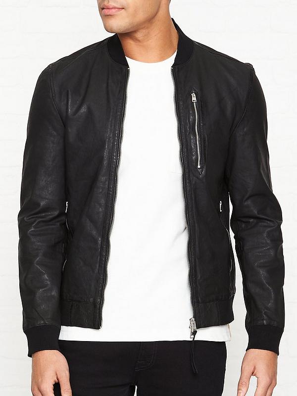 Kino Leather Bomber Jacket Black