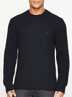 allsaints-raynes-waffle-knit-crew-neck-jumper--nbspink-navy