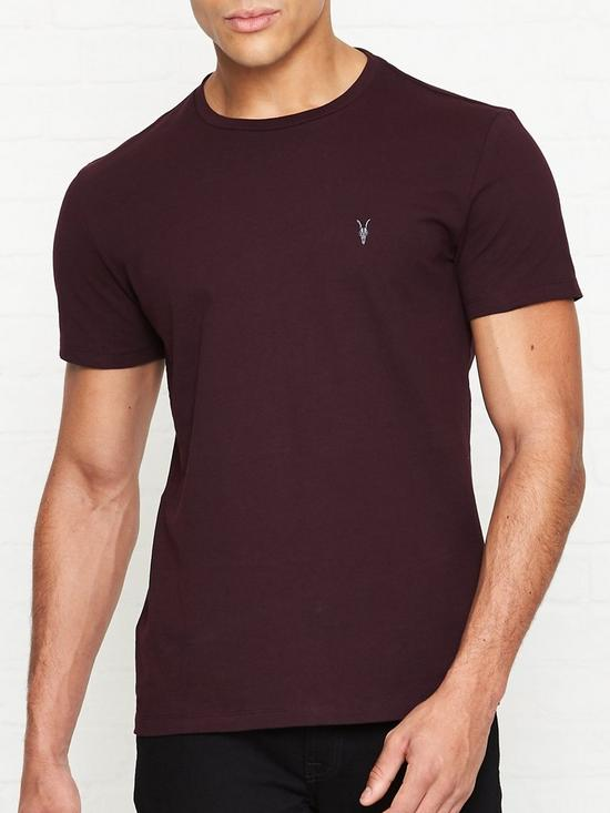 38eb0886 AllSaints Laiden Crew Neck T-Shirt - Burgundy | very.co.uk