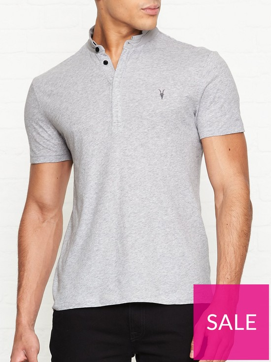 16f696b1 AllSaints Grail Baseball Collar Polo Shirt - Grey | very.co.uk