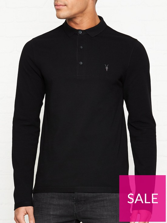 5f024872 AllSaints Reform Long Sleeve Polo Shirt - Black | very.co.uk