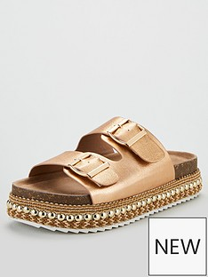 cc028eb315d6 V by Very Geonna Buckle Strap Flatform Sandals - Rose Gold