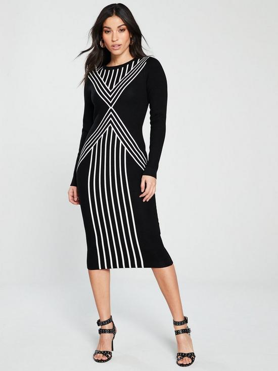 KAREN MILLEN Chevron Stripe Knit Dress - Black White  da23c36cb0