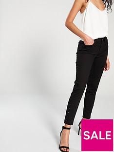 karen-millen-side-button-skinny-jean-black