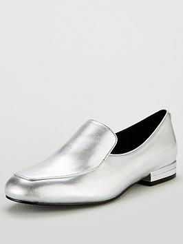 karen-millen-leather-loafer-shoe-silver