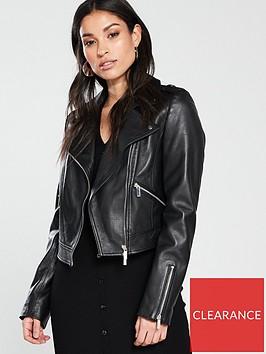 karen-millen-cropped-leather-biker-jacket-black
