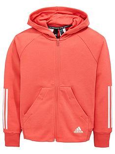 more photos 5237a 1da1c adidas Girls Mh 3 Stripe Full Zip Hoodie