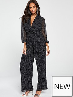 v-by-very-woven-spot-jumpsuit-monochrome