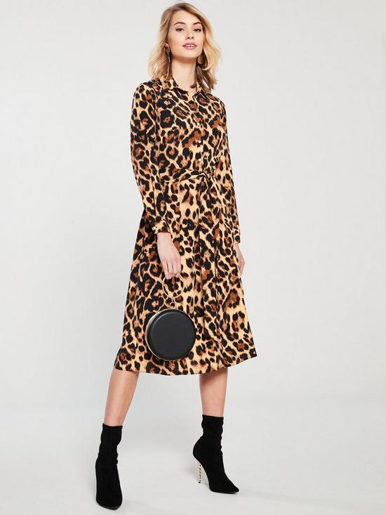 8cc2552876e V by Very Tie Waist Leopard Midi Shirt Dress - Leopard Print