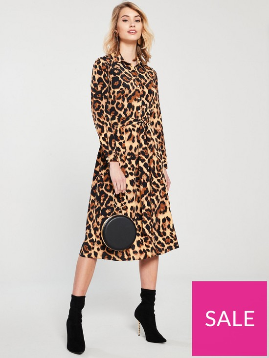 c10207a1e V by Very Tie Waist Leopard Midi Shirt Dress - Leopard Print | very ...