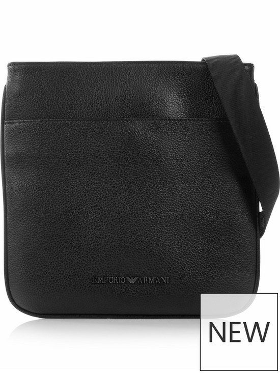 EMPORIO ARMANI Men s Pebble Grain Leather Cross-Body Bag - Black ... d143e9f3aff1c