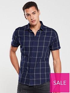v-by-very-short-sleeved-grid-check-shirt-navy