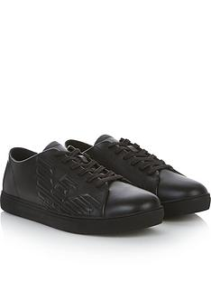 emporio-armani-mens-embossed-eagle-leather-trainers-black