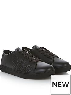 emporio-armani-mens-embossed-eagle-leather-trainers-black