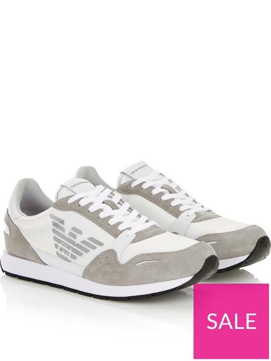 547332443b0e4 EMPORIO ARMANI Contrast Fabric Runner Trainers - White | very.co.uk