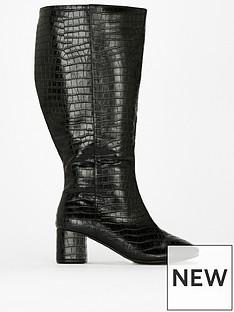 evans-evans-extra-wide-fit-croc-block-heel-boot