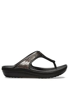 d4d0aed5bb2f Crocs Sloane Metal Text Wedge Flip Flop