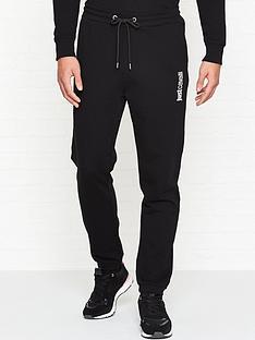 just-cavalli-slim-logo-print-joggers-black