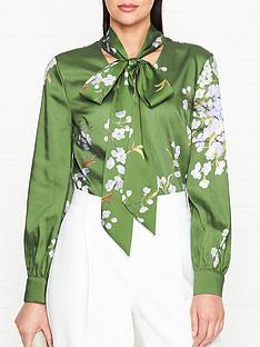 ted-baker-johsie-graceful-tie-neck-top-green