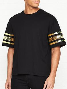 just-cavalli-logonbspprint-tape-sleeve-t-shirt-black