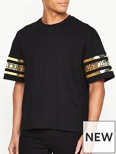 just-cavalli-logonbspprint-tape-sleeve-t-shirt-black
