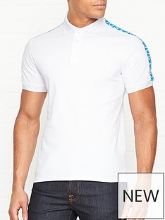 just-cavalli-logonbspprint-tape-short-sleeve-polo-shirt-white