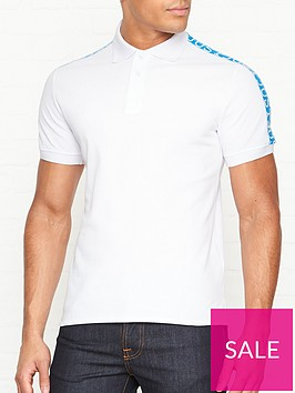 just-cavalli-logonbspprint-tape-short-sleeve-polo-shirt-white