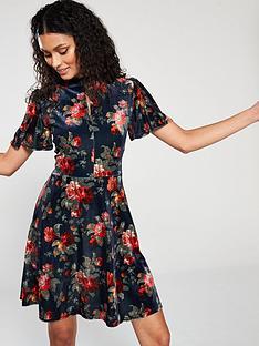 516f8bb48b4d Oasis Rose Velvet Angel Sleeve Dress - Blue