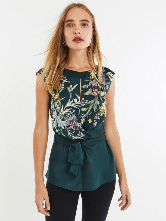 9bb0fabe71c77e Oasis Winter Jasmine Placement Tie Top - Green | very.co.uk