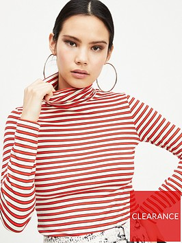 miss-selfridge-stripe-ribbed-polo-top-red