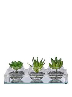 set-of-3-glass-vases-with-artificial-plants-and-mirror-base