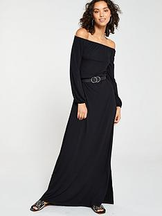 V by Very Off The Shoulder Jersey Maxi Dress - Black f35e3c600