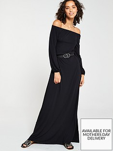 54e1064c87 V by Very Off The Shoulder Jersey Maxi Dress - Black