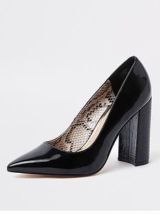 river-island-wide-fit-block-heel-court-shoes-black