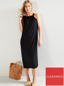 v-by-very-shirred-strap-volume-dress-black