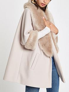 river-island-river-island-faux-fur-collar-swing-coat-stone