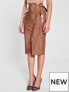 river-island-patent-tie-midi-skirt-tan