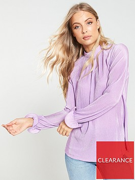 v-by-very-pleated-jersey-top-lilac