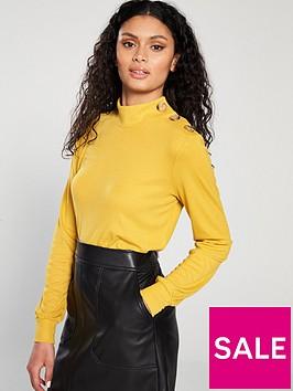 warehouse-button-shoulder-mutton-sleeve-top-mustard