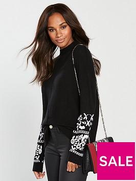 wallis-embroidered-cuff-jumper-black