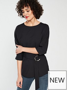 river-island-river-island-drape-detail-woven-top-black